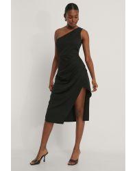 NA-KD Black Einseitig Schulterfreies Kleid