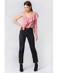 NA-KD Pink Boho One Sleeve Frill Top