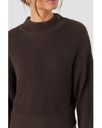 Volume Sleeve High Neck Knitted Sweater NA-KD en coloris Brown