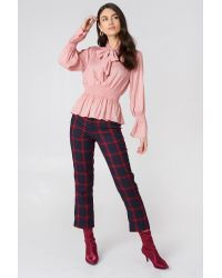 NA-KD Pink Boho Shirred Detail Tie Neck Blouse