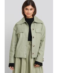 NA-KD Green Trend Front Pocket Pu Jacket
