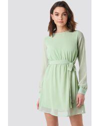 NA-KD Green Chiffon Dress