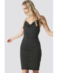 NA-KD Black Party Glittery Spaghetti Strap Dress