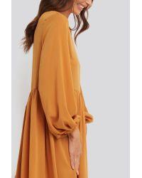 NA-KD Orange Trend Pleat Skirt Chiffon Dress