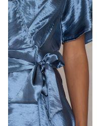 NA-KD Metallic Wrap Over Dress Dusty Blue