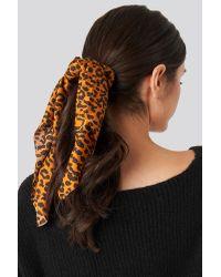NA-KD Leopard Bow Scrunchie Brown