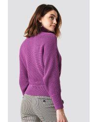 NA-KD Folded Knitted Sweater in het Purple