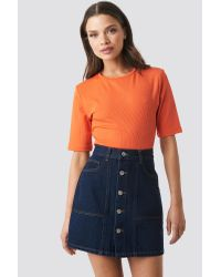 NA-KD Contrast Stitch Button Up Mini Skirt in het Blue