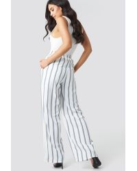 Glamorous Blue Striped Wide Pants