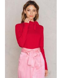 NA-KD High Neck Knot Sweater Red