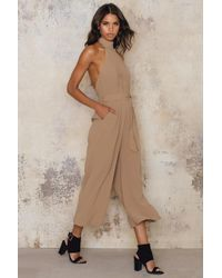 NA-KD | Brown Culotte Tie Neck Jumpsuit | Lyst
