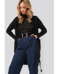 NA-KD Chunky Knit Long Cardigan in het Black