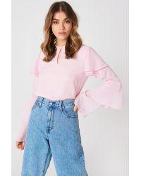 NA-KD Flounce Sleeve Blouse Pink