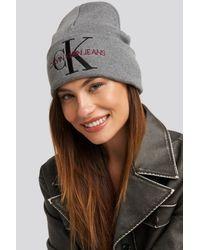 Calvin Klein J Basic Women Knitted Beanie Hat in het Gray