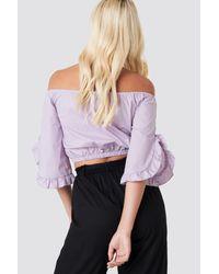 NA-KD Purple Andrea Hedenstedt x Off Shoulder Flare Frill Top