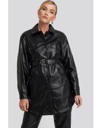 NA-KD Black Trend Pu Belted Shirt Jacket