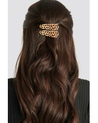 NA-KD Metallic Double Pack Leopard Hairclips Beige