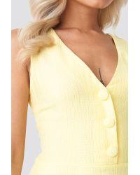 Trendyol Yellow Yol Button Detailed Mini Dress