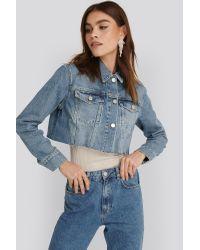 NA-KD Blue Trend Short Raw Hem Denim Jacket