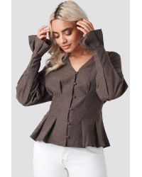 NA-KD Gray Button Up Balloon Sleeve Blouse Brown