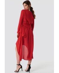 NA-KD Tie Detail Asymmetric Dress Red