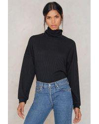 Rut&Circle | Black Cicci Rib Knit Polo | Lyst