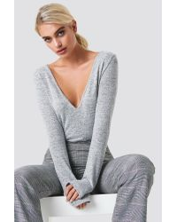 NA-KD Gray Grey V-neck Ls Knitted Sweater