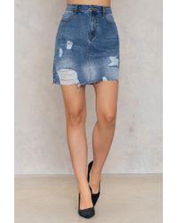 EVIDNT Blue Destroyed Straight Midi Skirt