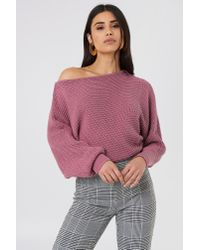 NA-KD - Purple Off Shoulder Knitted Sweater - Lyst