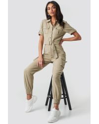 NA-KD Green Hoss x Belted Cargo Jumpsuit