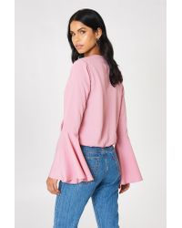 NA-KD Pink Overlap Front Blouse