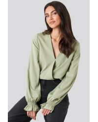 NA-KD Green Wrap Over Blouse