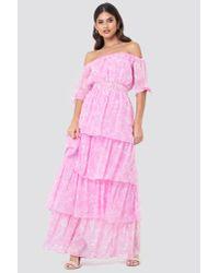 NA-KD Pink Tie Sleeve Off Shoulder Maxi Dress