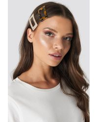 NA-KD Double Pack Chunky Squared Hairclips in het Natural
