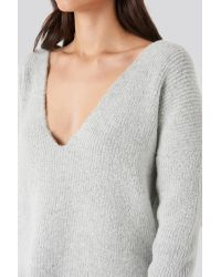 NA-KD Gray Oversized V Neck Knitted Sweater