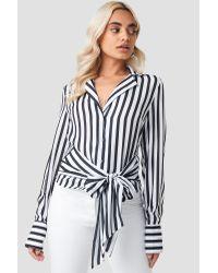 NA-KD Tied Waist Striped Shirt Black
