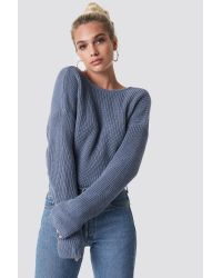 NA-KD Knitted Deep V-neck Sweater Blue