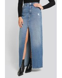 NA-KD Front Split Maxi Denim Skirt in het Blue