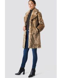 NA-KD Brown Trend Faux Fur Collar Long Jacket
