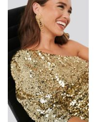 NA-KD Metallic Party One Shoulder Puff Sleeve Sequin Dress