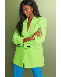 NA-KD Trend Gerecyclede Oversized Blazer Met Scherpe Schouders in het Green