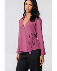 NA-KD Pink Wrap Over Chiffon Shirt
