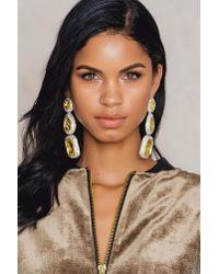 NA-KD - Yellow Triple Big Rhinestone Earrings - Lyst