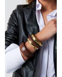 Mango - Brown Wood Bracelet Chocolate - Lyst