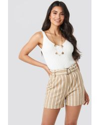 NA-KD Natural Trend Linen Look Striped Shorts