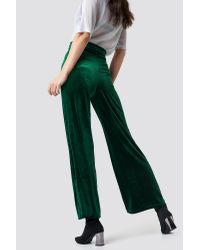Rut&Circle Green Velvet Wide Pant