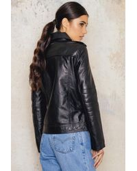 CALVIN KLEIN 205W39NYC - Black Aurala Leather Biker Jacket - Lyst