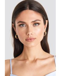 NA-KD Metallic 3-pack Layered Hoop Earrings Gold