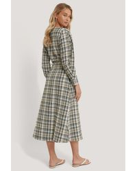 NA-KD Brown Trend Balloon Sleeve Wrap Front Check Midi Dress
