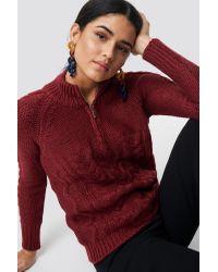Trendyol Red Knit Zipp Detail Sweater